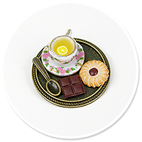 brooch of  tray with tea and sweets no. 2