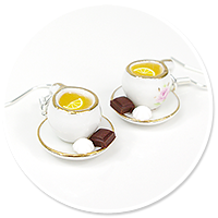 earrings cups with tea (white) no. 2