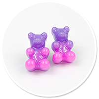 plug-in earrings colorful teddy bear no. 4