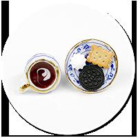 kolczyki wtykane kawa ze słodyczami nr 3