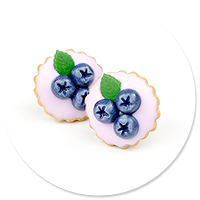 plug-in earrings tart with blueberries