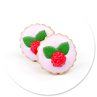 plug-in earrings tart with raspberries no. 3