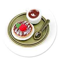 brooch of  tray with coffee and tart