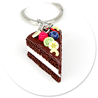 keyring with chocolate cake no. 7