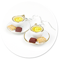 earrings cups with tea and lemon no. 5