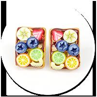 kolczyki wtykane gofry z owocami nr 6