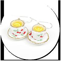kolczyki filiżanki herbata z cytryną nr 2
