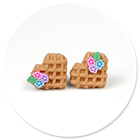 earrings mini waffles with flowers