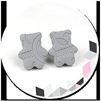 earrings gray teddy bears