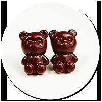 kolczyki wtykane czekoladowe misie