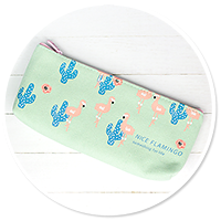 beauty bag with cactus and flamings