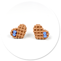 plug-in earrings waffles