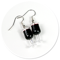 earrings glass with red wine no 6