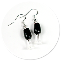 kolczyki kieliszki z czerwonym winem nr 5