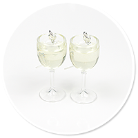 earrings glass with white wine
