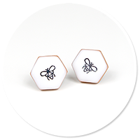 plug-in earrings with bee