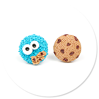 plug-in earrings cookie monster no. 4
