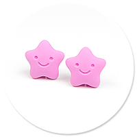 plug-in earrings stars (pink)