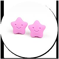 kolczyki wtykane różowe gwiazdki
